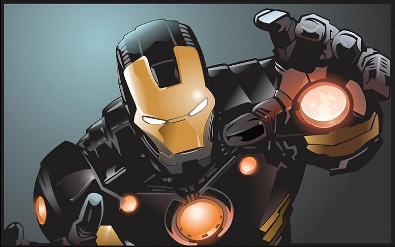 Iron Man Demir Adam Siyah Zırh Süper Kahramanlar Kanvas Tablo