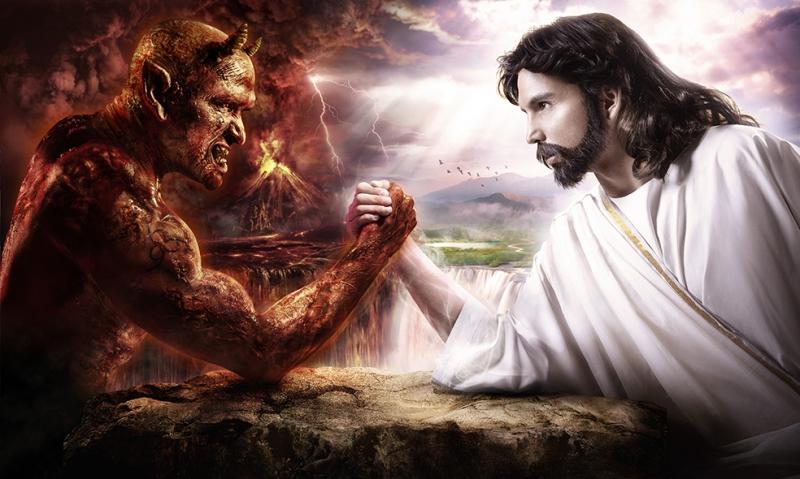 İsa ve Şeytan Popüler Kültür Kanvas Tablo