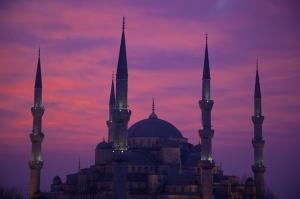 İstanbul Camii Siluet 2 Dünyaca Ünlü Şehirler Kanvas Tablo