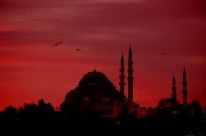 İstanbul Camii Siluet Dünyaca Ünlü Şehirler Kanvas Tablo