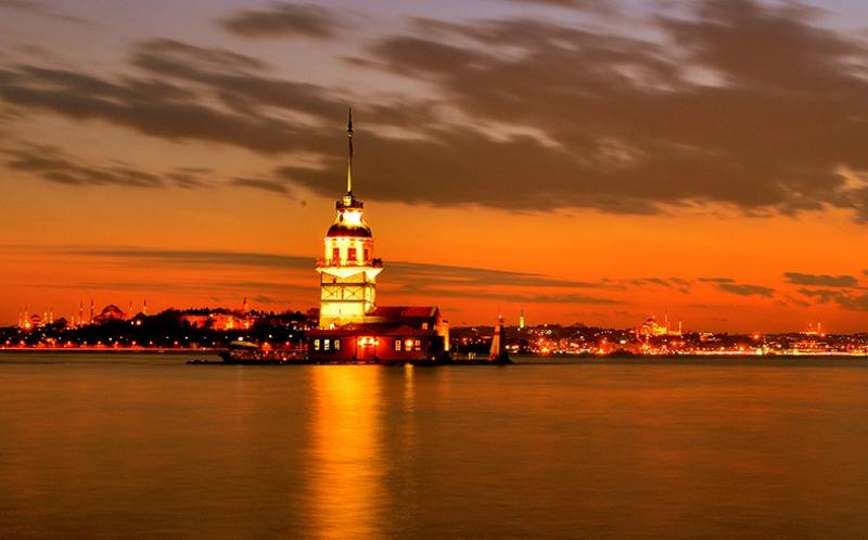 İstanbul Kız Kulesi Gün Batımı Dünyaca Ünlü Şehirler Kanvas Tablo