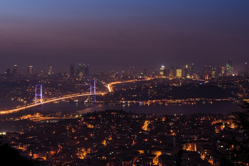 İstanbul Kuş Bakışı Akşam Dünyaca Ünlü Şehirler Kanvas Tablo