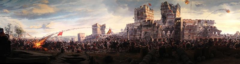 İstanbul'un Fethi 1453 Panaroma Osmanlı Tarihi Kanvas Tablo