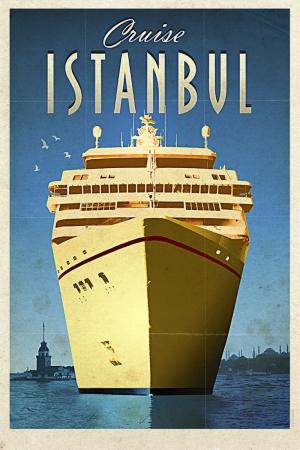 İstanbul Ve Cruise Gemisi Şehirler Kanvas Tablo