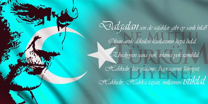 İstiklal Marşı, Baş Komutan Atatürk, Türk Bayrağı-2 Kanvas Tablo