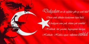 İstiklal Marşı, Baş Komutan Atatürk, Türk Bayrağı-6 Kanvas Tablo
