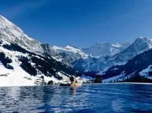 İsviçre Sonsuz Havuz Doğa Manzaraları Kanvas Tablo