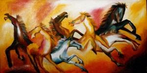 İsyankar Şahlanmış Atlar Yağlı Boya Sanat Kanvas Tablo