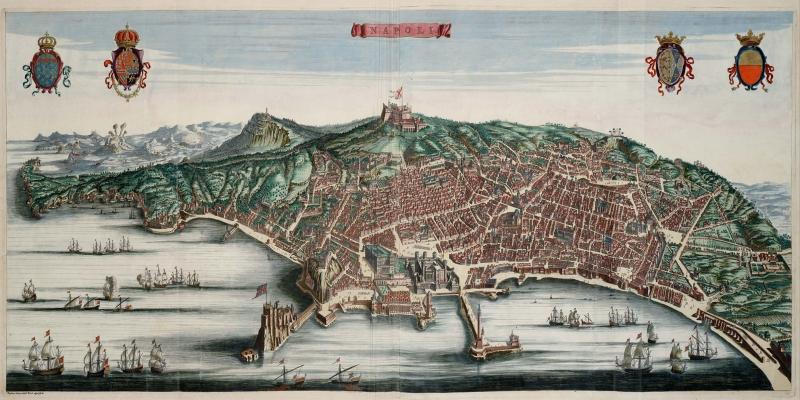 Italya Napoli Eskitme Eski Cizim Haritasi HD Dunya Haritalari Cografya Canvas Tablo
