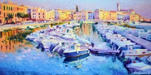 İtalya Sahil Renkli Kayıklar Yağlı Boya Sanat Kanvas Tablo