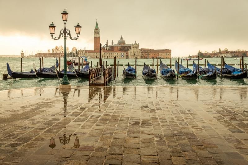 İtalya Venedik San Marco Gondollar Manzara Dünyaca Ünlü Şehirler Kanvas Tablo
