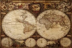 Italyan Latince Yazilmis Eskitme Eski Cizim Dunya Haritasi HD Dunya Haritalari Cografya Canvas Tablo