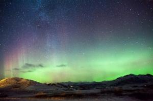 İzlanda Akşam Işıkları Yıldızlar 2 Dünya & Uzay Kanvas Tablo