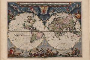 J Blaeu 1664 Eski Cizim Dunya Haritasi 4 Cografya Canvas Tablo