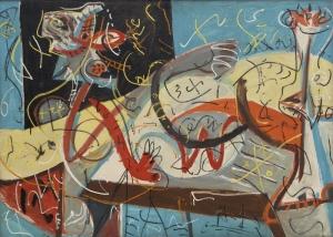 Jackson Pollock Özgür Tasarım Figür Yağlı Boya Klasik Sanat Canvas Tablo