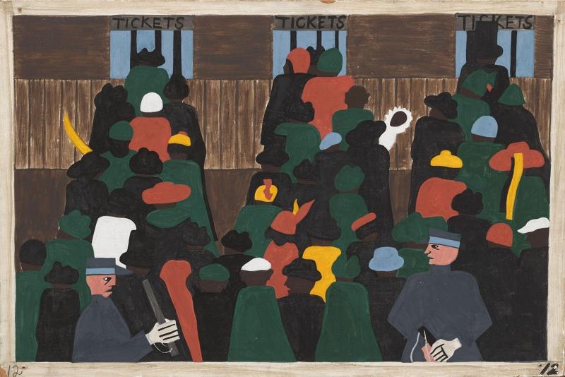 Jacob Lawrence Göçmenleri Bekleyen Korumalar Yağlı Boya Klasik Sanat Canvas Tablo