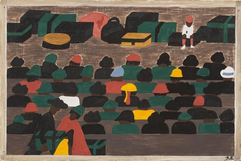 Jacob Lawrence Guneyde Tren İstasyonunda Kuzeye Gitmeyi Bekleyen Kalabalıklar Yağlı Boya Klasik Sanat Canvas Tablo