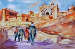 Jaipur Filler Kale Yağlı Boya Sanat Kanvas Tablo