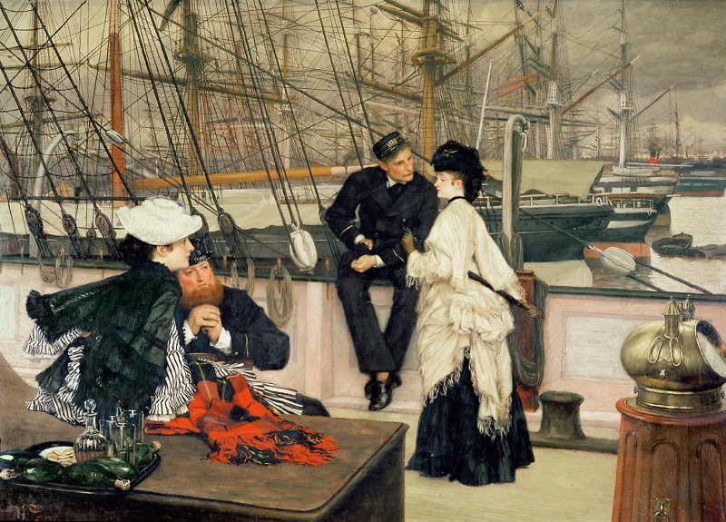 James Tissot Kaptan Ve Bayan Arkadaşı Yağlı Boya Klasik Sanat Canvas Tablo