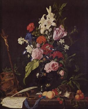 Jan Davidsz De Heem 2 Vazo İçinde Çiçekler Klasik Sanat Kanvas Tablo