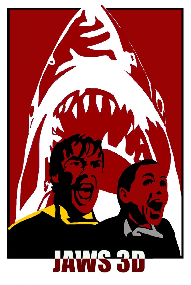 Jaws 3D Afiş Kanvas Tablo