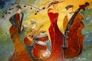 Jazz Bandosu, Müzik , Modern Sanat Kanvas Tablo