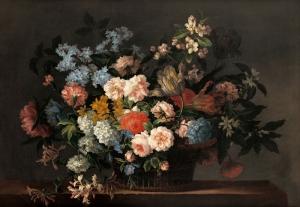 Jean Baptiste Monnoyer Çiçek Sepeti 1 Renkli Çiçekler Yağlı Boya Klasik Sanat Kanvas Tablo