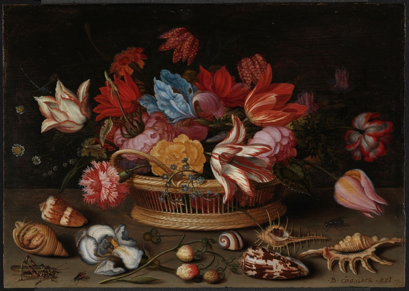 Jean Baptiste Monnoyer Çiçek Sepeti 2 Renkli Çiçekler Yağlı Boya Klasik Sanat Kanvas Tablo
