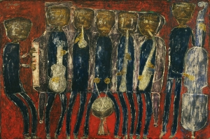 Jean Dubuffet Jaz Bandosu Abstract Yagli Boya Klasik Sanat Kanvas Tablo