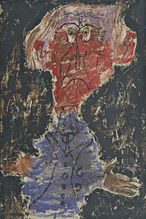 Jean Dubuffet Kizil Derili Adam Abstract Yagli Boya Klasik Sanat Kanvas Tablo