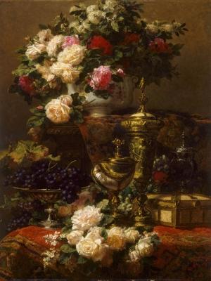 Jean Robie Meyve Ve Çiçekler Yağlı Boya Klasik Sanat Kanvas Tablo