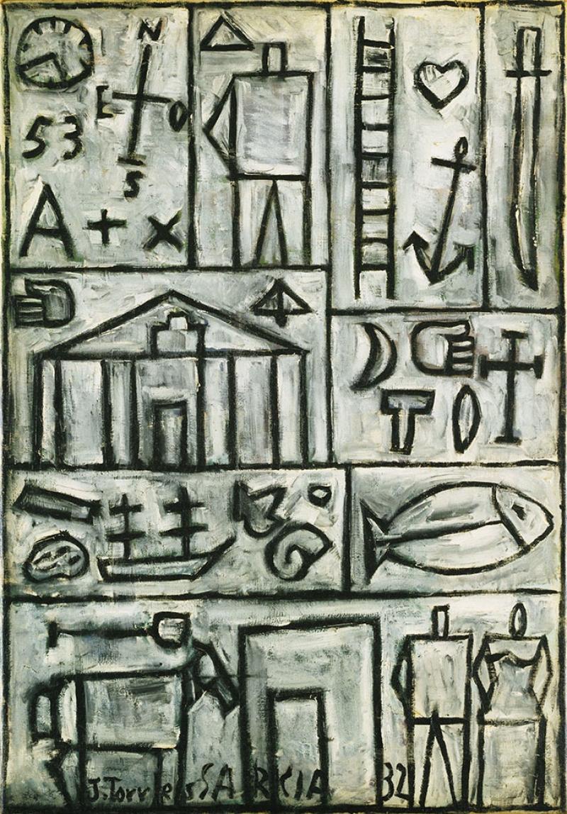 Joaquin Torres Garcia Kompozisyonu Yagli Boya Klasik Sanat Kanvas Tablo