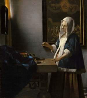 Johannes Vermeer Woman Holding a Balance Yağlı Boya Sanat Kanvas Tablo