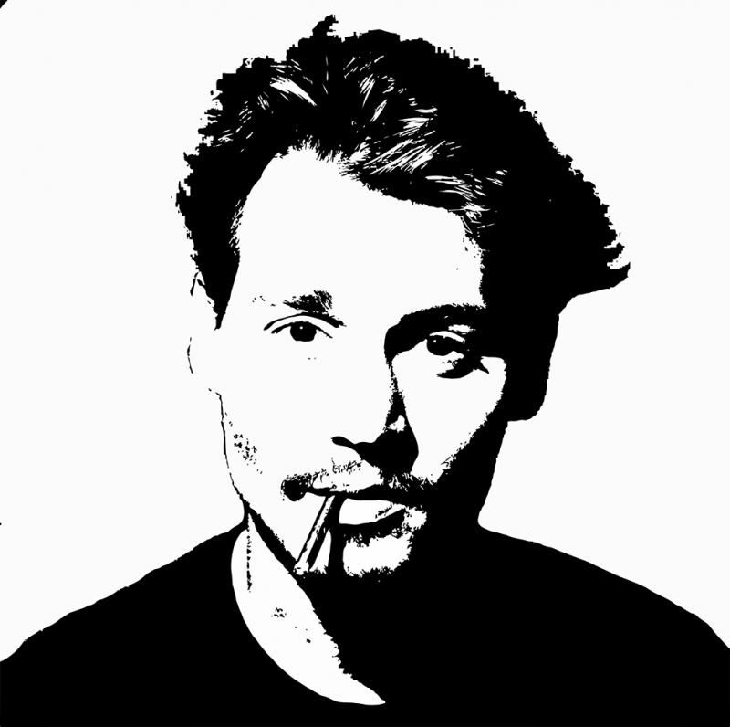 Johnny Depp Siyah Beyaz Popüler Kültür Kanvas Tablo