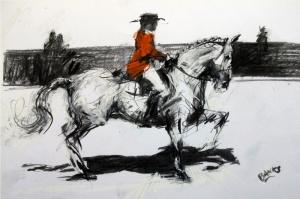 Jokey At Siyah Beyaz Yağlı Boya Sanat Kanvas Tablo