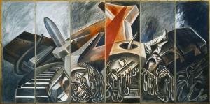 Jose Clemente Orozco Intihar Dalisi Yapan Ucak ve Tank Yagli Boya Klasik Sanat Kanvas Tablo
