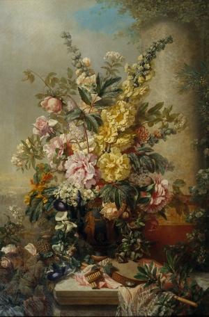 Josep Mirabent Vazo İçinde Çiçekler Klasik Sanat Kanvas Tablo