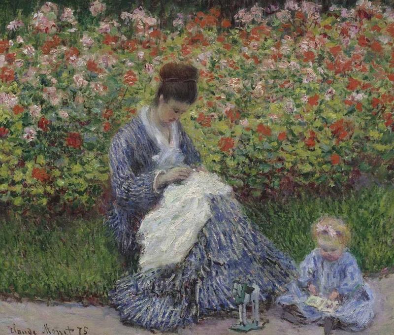 Kadın ve Çocuk Monet Yağlı Boya Sanat Kanvas Tablo