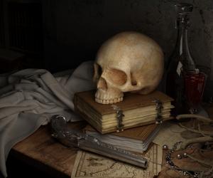 Kafatası ve Çalışması Masası Fotoğraf Kanvas Tablo