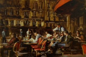 Kafe 1 Modern Yağlı Boya Sanat Kanvas Tablo