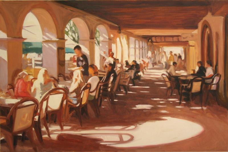 Kafe 2 Modern Yağlı Boya Sanat Kanvas Tablo