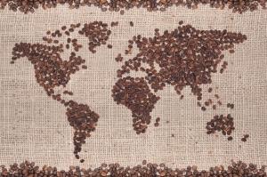 Kahve Çekirdeği 3 Dünya Haritası Lezzetler Kanvas Tablo