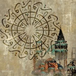 Kaligrafi İstanbul Dini Temalı Kanvas Tablo