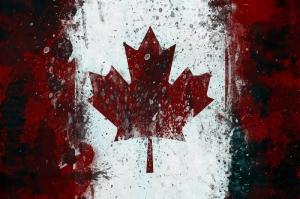 Kanada Bayrağı, Eskitilmiş Retro Kanada Bayrağı Kanvas Tablo