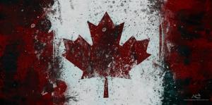 Kanada Bayrağı, Retro Vintage Kanvas Tablo