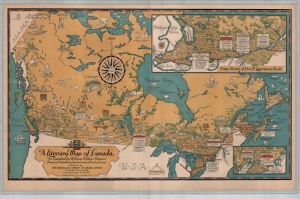 Kanada Eski Cizim Harita Cografya Kanvas Tablo