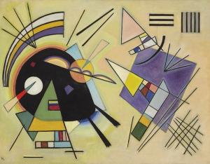 Kandinsky Schwarz Und Violett Yağlı Boya Sanat Kanvas Tablo