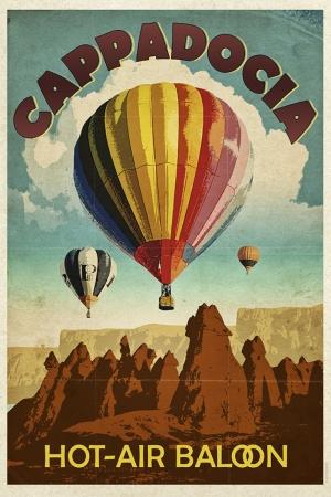 Kapadokya Ve Balonlar Şehirler Kanvas Tablo