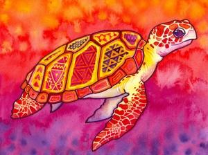 Kaplumbağa Renkli İllustrasyon Yağlı Boya Sanat Kanvas Tablo