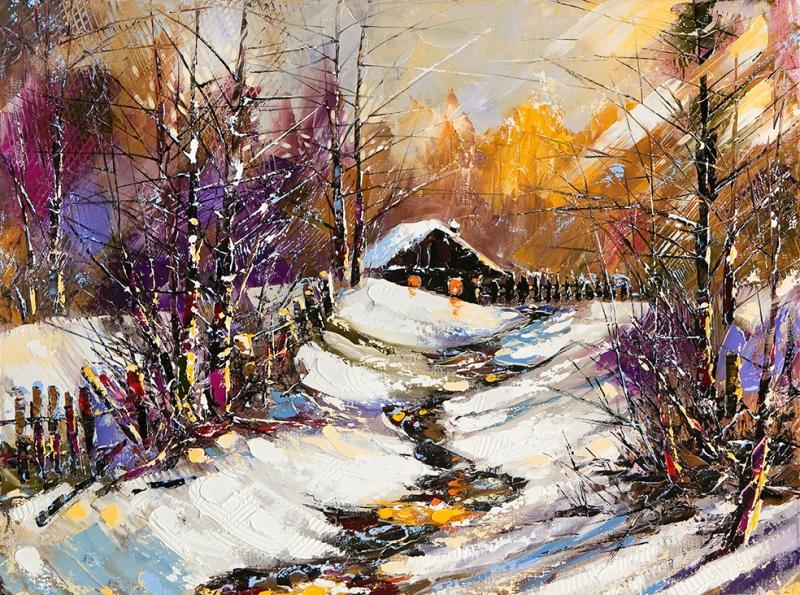 Kar Manzarası Yağlı Boya Sanat Kanvas Tablo